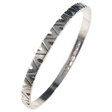 Hasse Dahlström, Sweden year 1965 Sterling Silver Modernist Bangle.