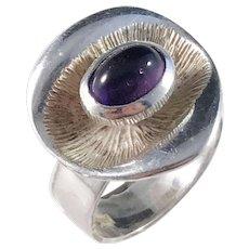 D Ekström, Sweden year 1972 Modernist Solid Silver Amethyst Ring.