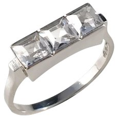 Nils Widberg, Sweden year 1951, Mid Century 18k White Gold Rock Crystal Ring.