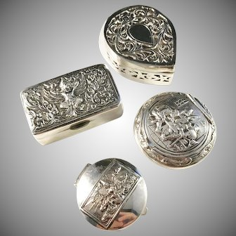4 Vintage and Antique Solid Silver Pill Boxes. Dutch, China and Siam.