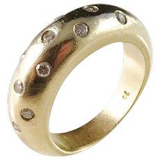 Mid Century 18k Gold 0.26ctw Diamond Chunky Ring.