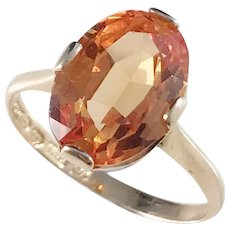 Carl Lindberg, Sweden year 1953, Mid Century 18k Gold Synthetic Sapphire Ring. Excellent.