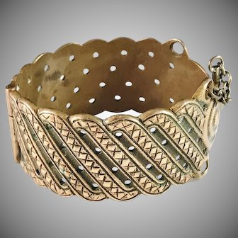 Kalevala Koru Vintage Large 3oz Bronze Open Close Bangle Bracelet.