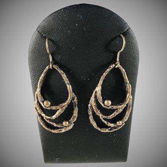 Sten & Laine, Finland 1970s Bronze Spider Web Earrings.