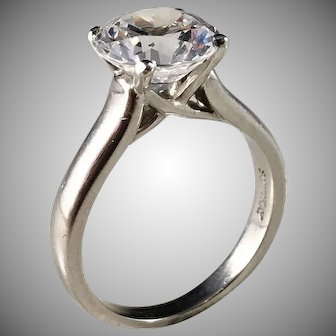 Scott Kay, Vintage Platinum Cubic Zirconia Designer Ring.