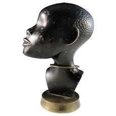 Hagenauer Werkstätte, Vienna Art Deco Bronze Bust of African Woman