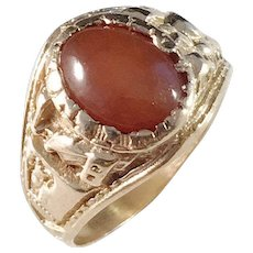 Victorian year 1886, Antique 18k Gold Carnelian Honor Ring