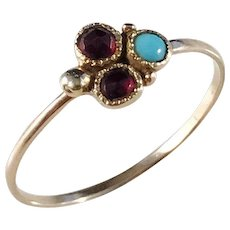 Anders Hallman, Stockholm year 1787-1818 Georgian 18k Gold Garnet and Turquoise Earring converted to a Ring.