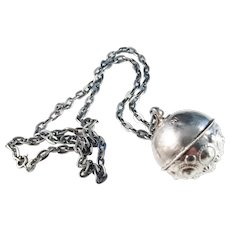 Anders Rönnov, Sweden year 1777-1802, Solid Silver Traditional Troll Ball Pendant Necklace.
