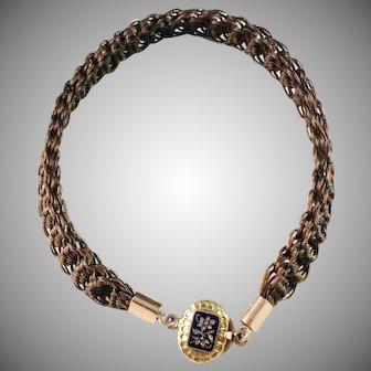 L W Dahlberg, Sweden year 1851 Victorian 18k Gold Enamel Woven Hair Mourning Bracelet.