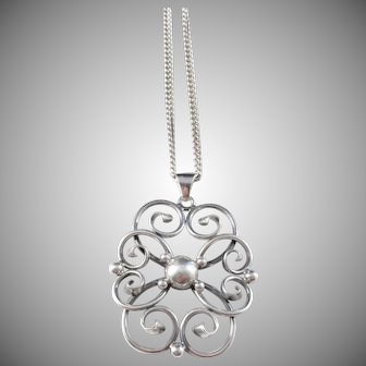 H Olsson ASA - Silver, Sweden year 1948 Mid Century Solid Silver Pendant Necklace