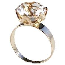 Alton, Sweden year 1975 Modernist 18k Gold Rock Crystal Ring.