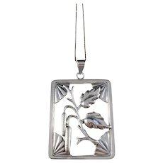 Grenol Eneret, Denmark 1940s Solid Silver Pendant Necklace.