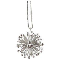 Lutz & Weiss, Pforzheim, Germany 1960s Sterling Silver Pendant Necklace.