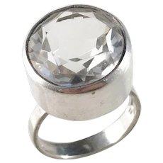 G Dahlgren, Sweden year 1970 Modernist Solid Silver Rock Crystal Ring.