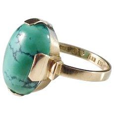 Wilhelm Hahne, Sweden 1954, Mid Century Modern 18k Gold Turquoise Ring. Excellent.