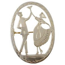 Sweden Art Deco 1930s Solid Silver Small Brooch.