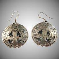 Sigmund Espeland, Norway Bronze and Sterling Vintage Viking Earrings.