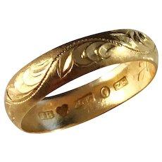 J Richter, Sweden year 1902, Edwardian 20k Gold Wedding Band Ring.