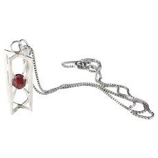 Krakow, Poland 1960s Solid 800 Silver Garnet Pendant Necklace.