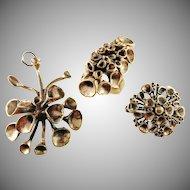 Hannu Ikonen Finland 1970s Sought After Reindeer Moss Design Bronze Set. Ring Brooch and Pendant.