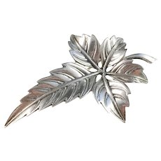 Kaplan, Stockholm year 1953 Mid Century Solid Silver Leaf Brooch.