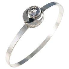 Sten & Laine Finland year 1978 Sterling Silver Rock Crystal Open Close Bangle Bracelet.