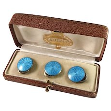 Ole Nicolai Olberg, Norway 1907-1934 Sterling Silver Enamel Buttons in Original Retailer's Box.