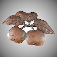 Art Nouveau c 1900 Large Copper Apple Brooch.