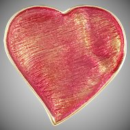 Yves Saint Laurent, France Vintage Red Heart Enamel Costume Jewelry Pendant Brooch.
