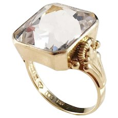 G Dahlgren Sweden 1955 Mid Century 18k Gold Large Rock Crystal Ring. Excellent.