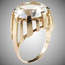 Bengt Hallberg, Sweden year 1969, Modernist 18k Gold Rock Crystal Ring.