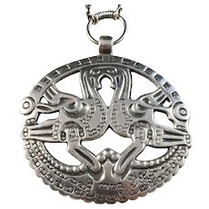 Kalevala Koru, Finland year 1970 Large Sterling Silver Pendant Necklace.