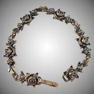 Finland Mid Century Bronze Bracelet. Roses.