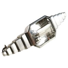 GUSSI, Sweden year 1955 Mid Century Moderns Solid Silver Rock Crystal Brooch