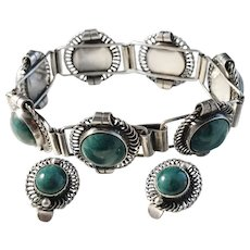 Lundquist, Sweden year 1950 Solid Silver Azurite Bracelet and Clip-on Earrings.