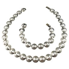 Kaplan, Stockholm year 1955 Mid Century Modern Set of Solid Silver Necklace and Bracelet.