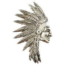 Maker J.P, Peru Large Mid Century Sterling Silver Indian Brooch.