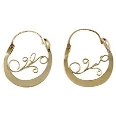 Art Nouveau 14K Gold Earrings. Hallmarked, most likely France c 1915