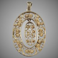 Denmark c 1920 Gold Washed Silver Filigree Pendant.