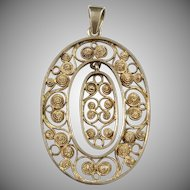 Denmark c 1920 Gold Washed Silver Filigree Pendant.