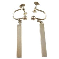 Waldemar Jonsson, Sweden year 1953 Mid Century Modern Gold Washed Solid Silver Earrings.
