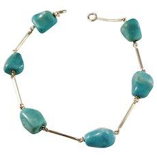 Torsten Ryden, Sweden 1963-70, 18k Gold Turquoise Bracelet.
