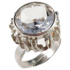 Bengt Hallberg, Sweden. Bold Modernist Sterling Silver Rock Crystal Ring.