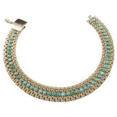 Eastern Mediterranean 1950s, 14k Turquoise Bracelet. Excellent. 16.2gram