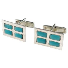 Mexico c 1950s Sterling Silver Turquoise Cufflinks. Maker's Mark poss CHH