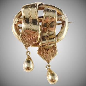G Dahlgren, Sweden year 1866, Victorian 18k Gold Brooch.