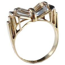 Juvelfabriken Sweden year 1953, Mid Century Modern 18k Gold Rock Crystal Ring.