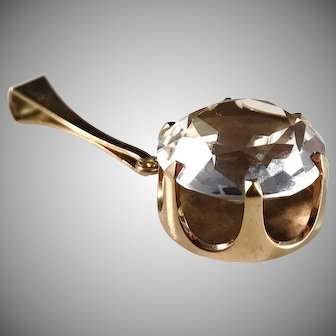 Elis Kauppi, Kupittaan Kulta Finland 1970s Modernist 14k Gold Rock Crystal Pendant. Excellent.