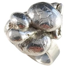 Alvesta, Sweden year 1973 Chunky Modernist Sterling Silver Ring. 19.2gram